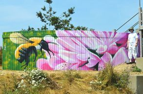 milton creek bee mural hand painted flower pink honey pollen wildlife