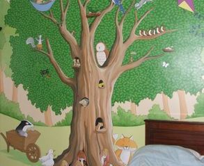 animal tree mural hand painted wall forest wildlife woodland trunk birds owl rabbit squirrel grass