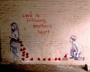 love valentines paste up mural street art graffiti boy girl heart basket
