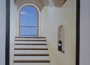 deceptive doorway hidden mural optical illusion trompe loeil stairs steps stairway depth hand painted