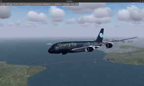 Swanair's A388 flying other Golden Gate in KSFO