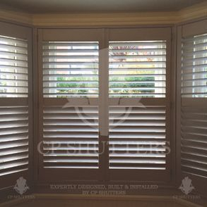 Elephants Breath colour, wooden interior window shutters, installed by cp shutters.