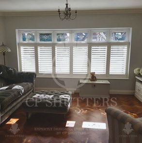 Anotehr white plantation shutter, built and installed by CP Shutters
