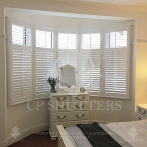 This beautiful Bedroom looked amazing with our bespoke interior wooden shutters.