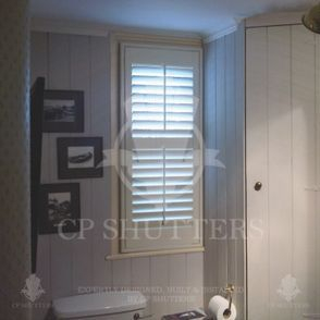 Shutters that are waterproof for use in bathrooms, such as this one in Essex.