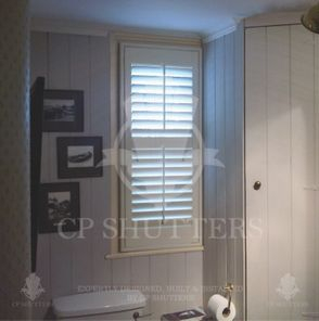 Plantation Shutters, made 100% waterproof for use in Bathrooms, such as this one fitted by CP Shutters in Essex