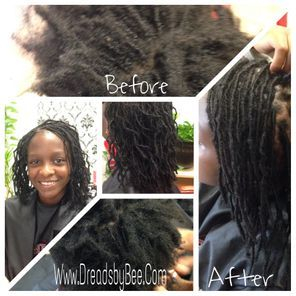 Braids by Bee repairs a child hair that was in need of care started Small micro Locs on her as requested she was so happy after for her new transformation
