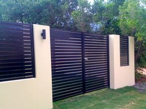 Horizontal slatted double gates