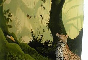 jungle mural hand painted cheetah parrot vines trees green animals forest leaves grass mist monkey tropical
