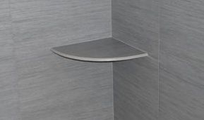 Bullnose porcelain shower shelf