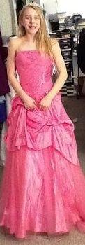 A formal pink dress.