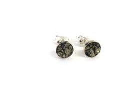 hand made silver and pyrite studs