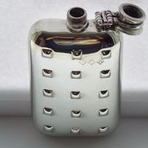 6oz stamped pewter hip flask with captive top Deco Tech