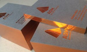 Copper hot foil business cards on 700gsm Smoke Grey Colorplan