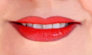Smile red lips white teeth