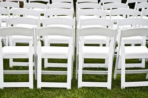 white wood chair rental, white resin chair rental, white wedding chair