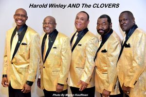 Harold Winley AND The CLOVERS in their bright yellow suits after a show