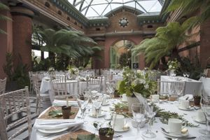 Wedding set up in large orangery