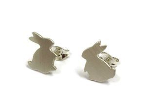 hand made silver bunny studs