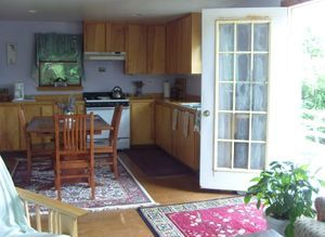 Kitchen, door onto front Deck
