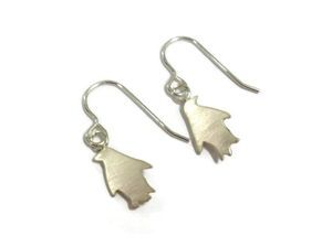 hand made silver penguin earrings