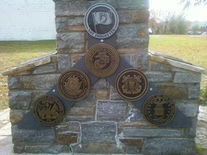 Our memorial wall in front of the VFW Post 160