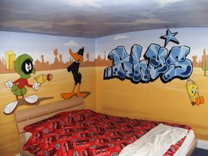 looney tunes mural hand painted animation cartoon children bedroom buggs bunny daffy duck taz sylvester porky pig tweety fun