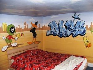looney tunes mural hand painted animation cartoon children bedroom buggs bunny daffy duck taz sylvester porky pig tweety fun