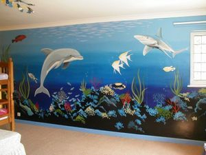 marine underwater sea ocean mural hand painted coral dolphin fish jellyfish deep blue