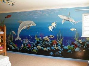 marine underwater sea ocean mural hand painted coral dolphin fish jellyfish deep blue