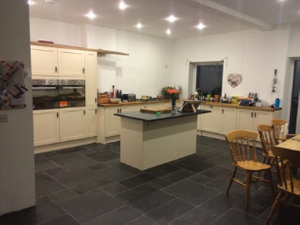 slate flooring and kitchen island