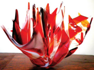 Volcania Art Glass Handkerchief Vase
