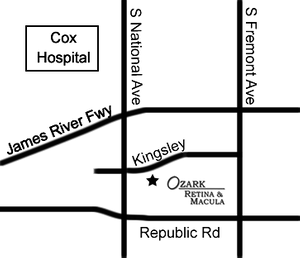 Map of southern Springfield showing Ozark Retina & Macula