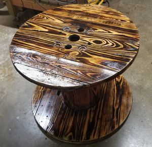Pine Burnt Wooden Spool w/ Hi gloss Finish