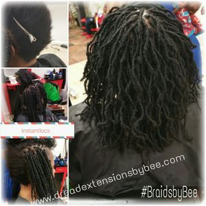 InstantLoc Dread Extensions done in micro size sisterloc size permanently done by Braids by Bee