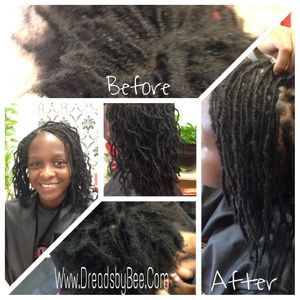 Starts Sisterlocs with Bee instantLocs method micro size parted sisterloc dread extesnsions added to her natural hair to start her journey neatly and quickly with no stages of waiting.