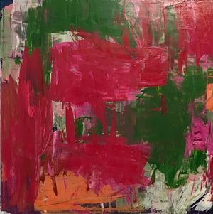 small 18x18in pink and green abstract