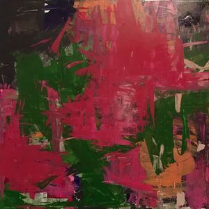 small 18x18in pink, green and orange abstract
