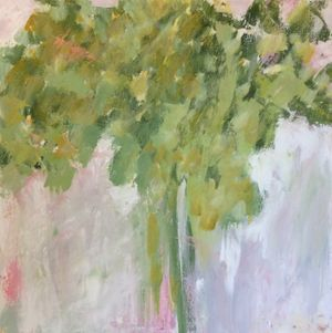 palette knife acrylic green and pink tree painting