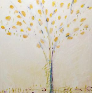 palette knife acrylic yellow tree painting