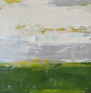 yellow and green acrylic abstract landscape square painting. 48x48