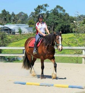 Sophie riding Dobbin