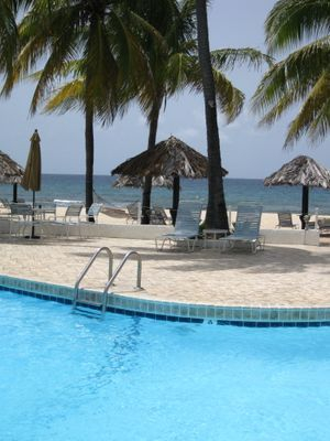 Beachfront swimming pool at Gentle Winds