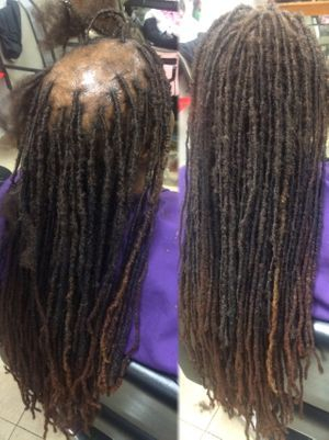 Instantloc Dread Extensions bridge added to create fullness in middle of client crown of natural dreadlocks.
