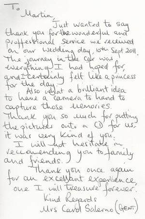 Thank You letter from the Bride
