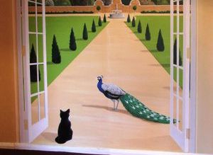 french doors mural hand painted landscape scenery garden trees trompe loeil peacock cat path walk