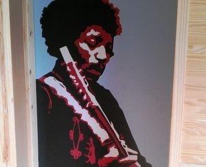 music mural hand painted jimi hendrix