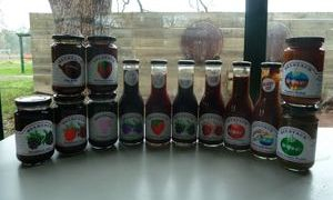 Range of jams, sauces and pickles made here at Belstack Strawberry Farm