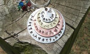 5 layer hand stamped mommy  jewelry from S&K Beads and Charms Hand  stamped design