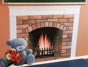 teddy bear fireplace warm festive brick work optical illusion mural hand painted fire hearth coal toy
